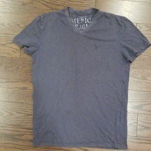American Eagle Dark Gray V Neck T Shirt